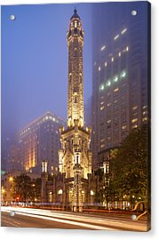 Chicago Historic Water Tower On Michigan Avenue Foggy Twilight - Chicago Illinois Acrylic Print