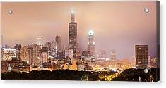 Chicago Illinois Panorama Skyline At Night Acrylic Print