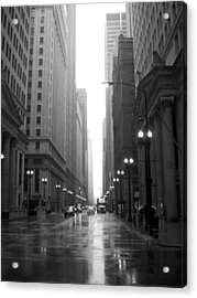 Chicago In The Rain 2 B-w Acrylic Print