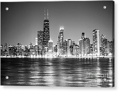 Chicago Lakefront Skyline Black And White Photo Acrylic Print by Paul Velgos