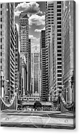 Acrylic Print featuring the photograph Chicago Lasalle Street Black And White by Christopher Arndt