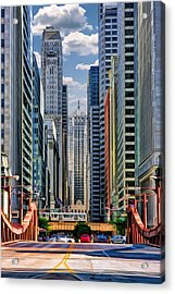 Acrylic Print featuring the painting Chicago Lasalle Street by Christopher Arndt