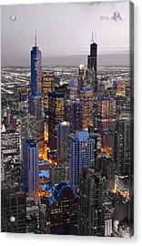 Chicago Loop Sundown Bw Color Blend Acrylic Print