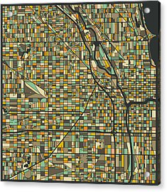 Chicago Map Acrylic Print by Jazzberry Blue