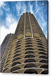Acrylic Print featuring the painting Chicago Marina Towers by Christopher Arndt