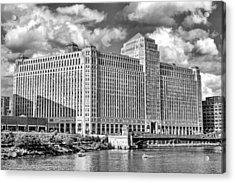Acrylic Print featuring the photograph Chicago Merchandise Mart Black And White by Christopher Arndt