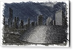 Chicago Millennium Park Bp Bridge Pa 02 Acrylic Print by Thomas Woolworth