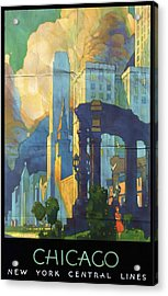 Chicago - New York Central Lines - Vintage Poster Folded Acrylic Print