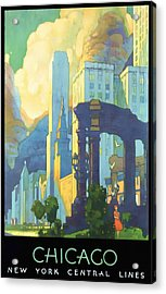 Chicago - New York Central Lines - Vintage Poster Restored Acrylic Print