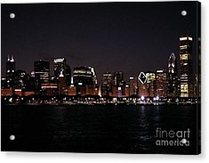 Chicago Night Acrylic Print by Cathy Weaver