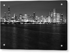 Chicago Night Skyline In Black And White Acrylic Print