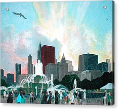 Chicago On The Fourth Acrylic Print