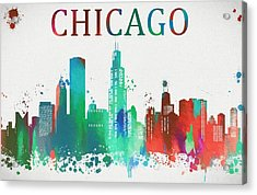 Chicago Paint Splatter Acrylic Print by Dan Sproul