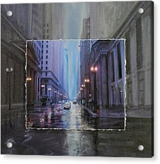 Chicago Rainy Street Expanded Acrylic Print by Anita Burgermeister