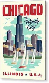 Chicago Retro Travel Poster Acrylic Print by Jim Zahniser