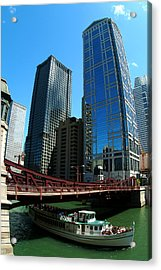 Chicago River - Chicago Boat Tour Acrylic Print by Dmitriy Margolin