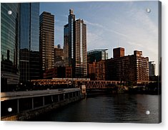Chicago River And Downtown Acrylic Print