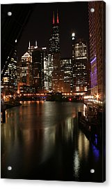 Chicago River At Night Acrylic Print by Christopher Purcell