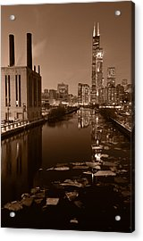 Chicago River B And W Acrylic Print by Steve Gadomski