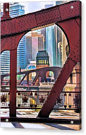Acrylic Print featuring the painting Chicago River Bridge Framed by Christopher Arndt