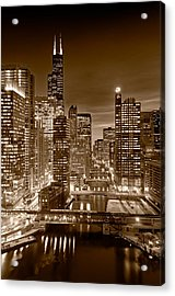 Chicago River City View B And W Acrylic Print