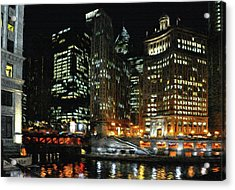 Chicago River Crossing Acrylic Print by Jeff Kolker
