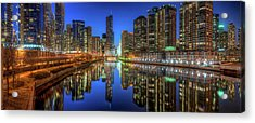 Chicago River East Acrylic Print by Steve Gadomski