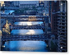 Chicago River First Light Acrylic Print by Steve Gadomski