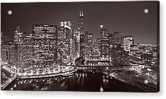 Chicago River Panorama B W Acrylic Print by Steve Gadomski