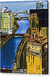 Chicago River Skyline Acrylic Print by Gregory A Page