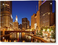 Chicago River Trump Tower And Wrigley Building At Dawn - Chicago Illinois Acrylic Print
