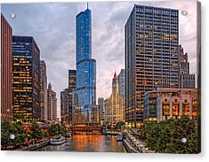 Chicago Riverwalk Equitable Wrigley Building And Trump International Tower And Hotel At Sunset  Acrylic Print