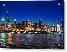 Chicago Shorline At Night Acrylic Print