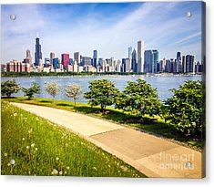 Chicago Skyine And Lakefront Trail Acrylic Print by Paul Velgos