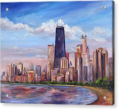 Chicago Skyline - John Hancock Tower Acrylic Print by Jeff Pittman