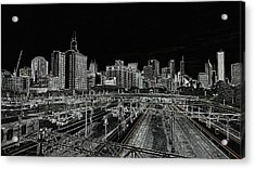 Chicago Skyline And Tracks Acrylic Print