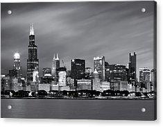 Chicago Skyline At Night Black And White  Acrylic Print by Adam Romanowicz