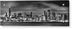 Chicago Skyline At Night Black And White Acrylic Print