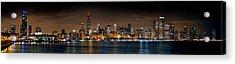 Chicago Skyline At Night Extra Wide Panorama Acrylic Print by Jon Holiday