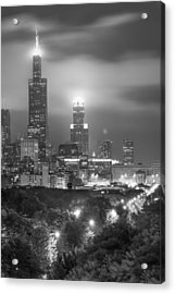Acrylic Print featuring the photograph Chicago Skyline At Night In Black And White by Gregory Ballos