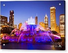 Chicago Skyline At Night With Buckingham Fountain Acrylic Print by Paul Velgos