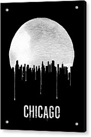 Chicago Skyline Black Acrylic Print by Naxart Studio