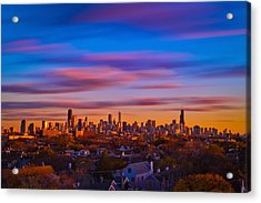 Chicago Skyline Blend Acrylic Print by Steve Kuzminski