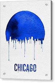 Chicago Skyline Blue Acrylic Print by Naxart Studio