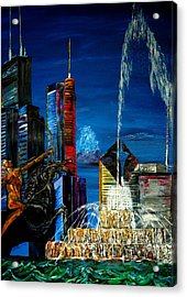 Chicago Skyline Buckingham Fountain Sears Tower Trump Tower Aon Building Acrylic Print by Chicago Oil Paintings By Gregory A Page