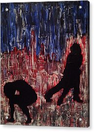 Chicago Skyline Fireworks Agony And The Waltz Acrylic Print