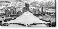 Acrylic Print featuring the photograph Chicago Skyline From Navy Pier Black And White by Adam Romanowicz