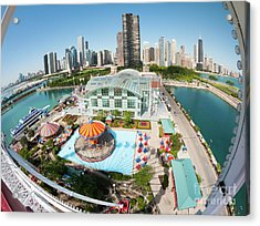 Chicago Skyline From The Navy Pier Ferris Wheel Acrylic Print by Felix Choo