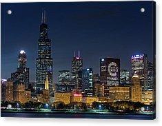 Acrylic Print featuring the photograph Chicago Skyline Go Gubs  by Emmanuel Panagiotakis