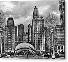 Chicago Skyline In Black And White Acrylic Print